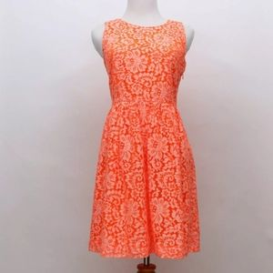 Madewell Orange Floral Lace Dress Size 2 NWOT